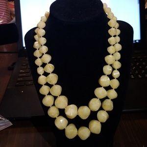 Iced lemon yellow vintage costume necklace